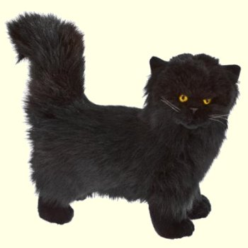 Standing Plush Black Persian Cat Stuffed Animal