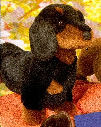 Douglas Spats Black and Tan Plush Dachshund