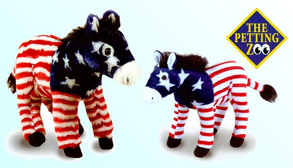 Stuffed Plush Patriotic Donkeys
