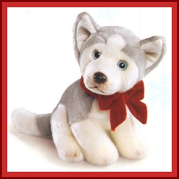 Russ Berrie Stuffed Plush Husky Puppy with a Bow