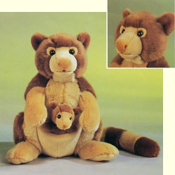 Leosco Stuffed Plush Tree Kangaroo with Baby