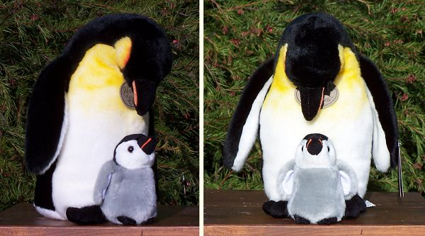 Stuffed Plush Emperor Penguin and Baby