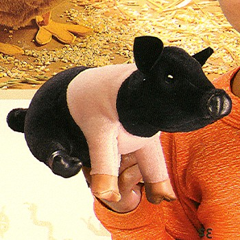 Folkmanis Stuffed Plush Mini Hampshire Pig