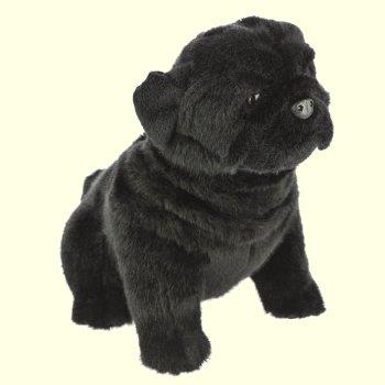 Realistic Pug Stuffed Animal, Bocchetta Plush Black Pug Stuffed Animal