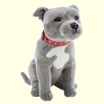 """16/"""" Large Gray and White Plush Pitbull Pitbull Stuffed Animal Dog"""